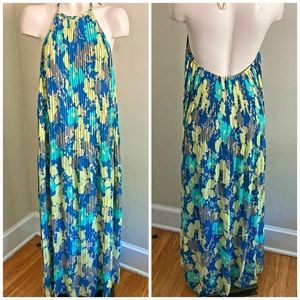 ARYEH floral pleated watercolor halter maxi dress